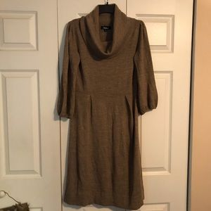 AGB Sweater Dress Size Large Cowl Neck Tan Khaki